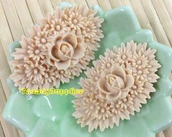 4 Pcs Peach Oval Flower Bouquet Cabochon (031)
