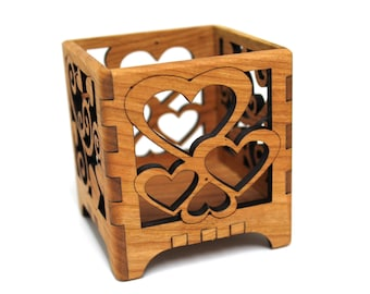 Valentine Hearts Wood Votive Candle Holder - Sustainable Harvest Wisconsin Wood - Timber Green Woods