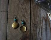 Water - Elemental Symbol Earrings, brass or silver
