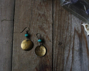 Water - Elemental Symbol Earrings, brass or silver