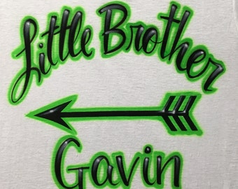 Airbrushed Baby Little Middle or Big Brother w/ Name size XS S M L XL 2X T-Shirt Airbrush T Shirt