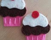 2 Handmade Felt Cupcake Appliques-Neopolitan