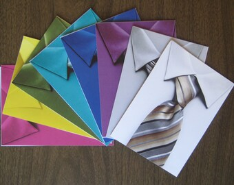 Christmas Shirt and Tie cards - recalimed paper