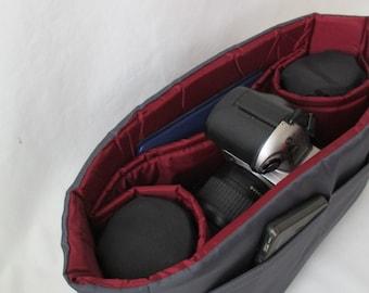 Camera Bag Insert - IN STOCK - 5X12X7 - Burgundy and Grey