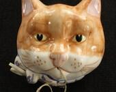 Ceramic Cat Head String or Yarn Holder