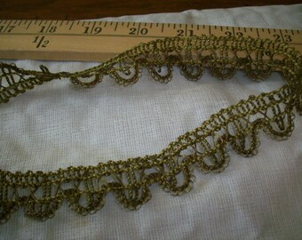 Gold lacey metal antique trim, vintage supplies