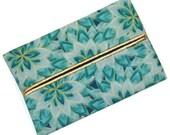 Travel Tissue Holder, Elegant Turquoise and Metallic Gold,  Designer Tissue Holder, Travel Tissue Cozy, Pocket Tissue Holder