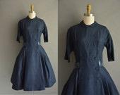 Suzy Perette 50s navy blue silk vintage dress / vintage 1950s dress