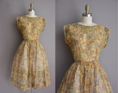 50s orange and gray floral cotton dress by Marcy Lee / vintage 1950s dress