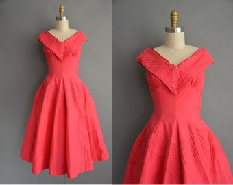 50s raspberry pink cotton vintage dress / vintage 1950s dress