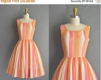 25% off SHOP SALE... vintage 1950s dress / 50s sherbet cotton stripe full skirt vintage dress