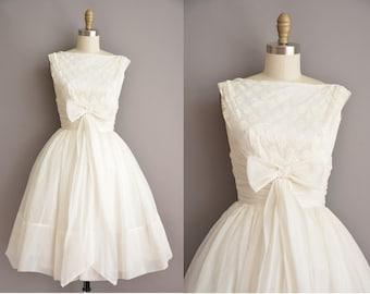 50s white chiffon tea length cup cake vintage wedding dress / vintage 1950s dress