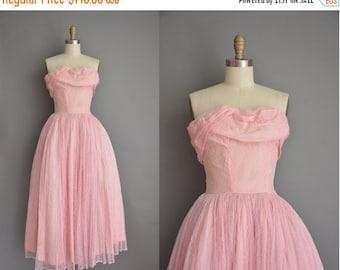 Anniversary SHOP SALE... vintage 1950s dress / strapless lace party dress / 50s dress