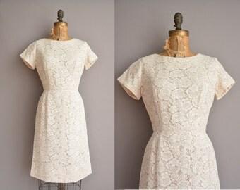 50s Henry Lee off white vintage lace wiggle dress / vintage 1950s dress