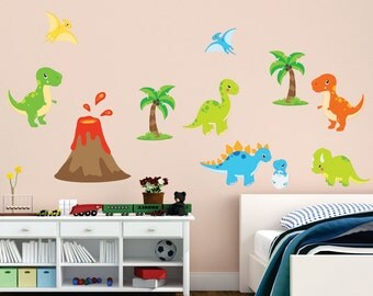Dinosaur Decal, Dinosaur Fabric Reusable Set, Kids Fabric Wall Decals, Dinosaurs, Removable, Reusable, Dino Decal, Animal Decals
