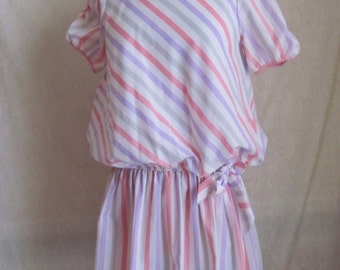 Cool Summer Dress, Mini, Dropped Waist, Candy Stripe, Vintage 80s
