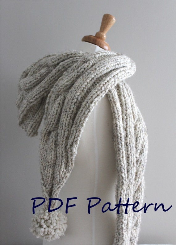 KNITTING PATTERN Cable Hooded Scarf PDF knitting pattern