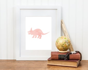 Girl Triceratops Dinosaur Printable Nursery Art - Girl Dinosaur Print - Digital Download - Big Girl Room, Girl Nursery Art, Dinosaur Art
