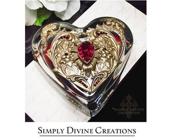 Paperweight, Heart Paperweight, Swarovski Crystal Embellished Heart Glass Paperweight, Desk Accessory, Home Decor, Jewelry For Your Desk,