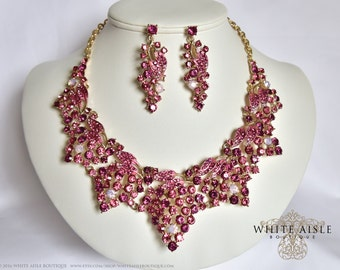 Pink Wedding Jewelry Set, Crystal Statement Necklace Earrings, Vintage Inspired Rhinestone Necklace, Bridal Jewelry