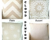 Tan Pillow Covers, Decorative Throw Pillows, Cushions, Natural Off White Cloud Denton Burlap-Like, Burlap, One or More Mix & Match ALL SIZES