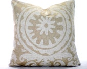 Tan Off White Decorative Throw Pillow Covers Cushion Tan Off White Suzani Linen Look Couch Bed Tone on Tone Shabby Chic ALL SIZES