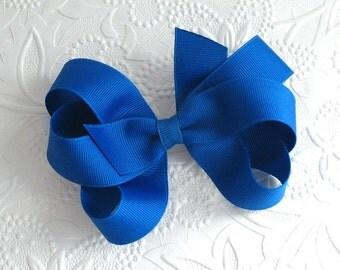 Large Royal Blue Hair Bow Clip, Royal Blue Boutique Bow, Toddler Bows