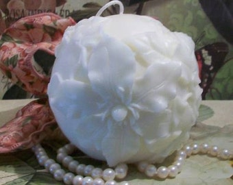 Beeswax Flower Ball Poinsettia Christmas Rose Candle