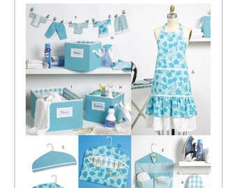 One Size Pattern - McCall's Decor Pattern M6051 - Laundry Room/Storage Decor Pattern - Apron, Ironing Board Cover, Organizer, Bins and More