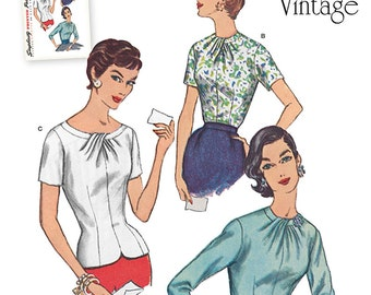 Simplicity Top Pattern - Misses' Pleated Neckline Blouse in Three Options - Reissued 1950's Pattern - Simplicity Retro Pattern
