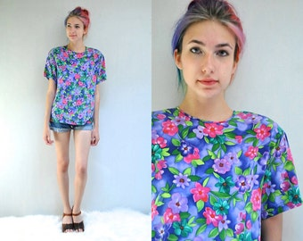 Boxy Silk Blouse   //   80s Floral Top  //  LA FLEUR