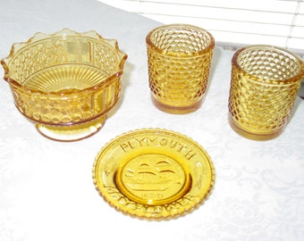 Vintage Amber Glass Collection Group Plate Candy Dish Votive Candle Holder Pair