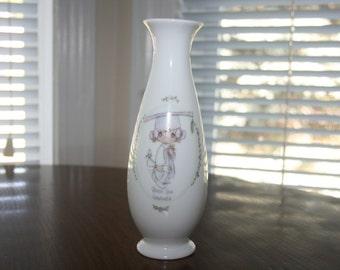 "Vintage Precious Moments Vase "" Bless You Graduate "" 1991"
