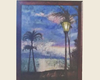 Large painting - Sunset with ocean palm trees and lamp post Feast at Lele Lahaina Maui Hawaii Lanaii