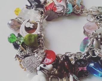I LOVE CATS, Loaded cat charm bracelet, cat bracelet, ceramic, glass, silver, cat lady, charms bracelet, by Newellsjewels on etsy
