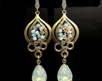 SWAROVSKI white opal ab bead crystal teardrop rhinestone gold sterling silver hook with cubic zirconia bridal vintage style wedding earrings