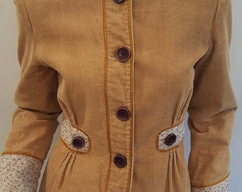 Vintage Inspired Short Corduroy Jacket/Blazer Sz Small Wheat Color