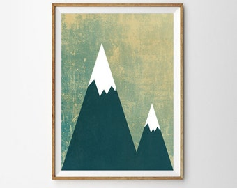 The Mountains are calling, Large  Wall Art, Tribal, Posters, Oversized Art, Trending Items, Trending Now, Trending, Mountains, Woodland