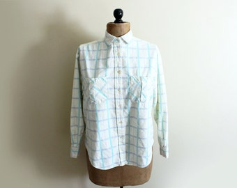 vintage shirt womens clothing 1980s blouse plaid flannel pastel colors pale yellow size medium m