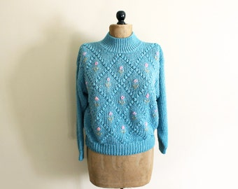 vintage sweater turtleneck 1980's turquoise flower pastel colors womems clothing size large l