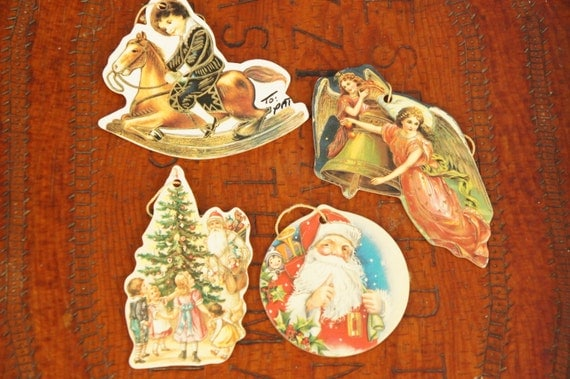 Vintage s victorian paper christmas ornaments shabby chic
