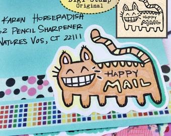 Digital Stamp - Catbus - Digistamp Original - Happy Mail - Stamp - Printable Sticker - Clip Art - Printables
