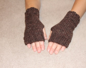 Hand Knit Fingerless Mittens/Texting Gloves-Brown  100% Wool  Wrist Warmers