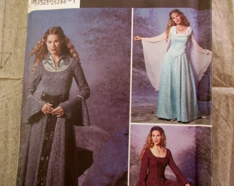 Simplicity Costumes Pattern 9891 - uncut, unused, size HH, 6, 8, 10,12, long skirt, gothic, princess, queen, peasant