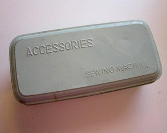vintage sewing machine accessory tin - tin box - pale blue