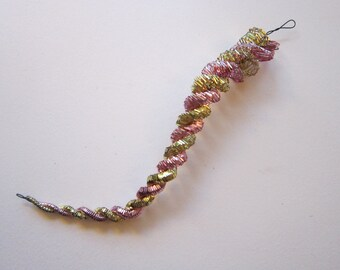vintage twisted tinsel ICICLE ornament - spiral tinsel ornament - pink and gold - 8 inches