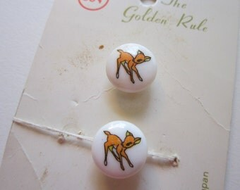 2 vintage BAMBI deer buttons - Golden Rule buttons, made in Japan - 1/2 inch buttons