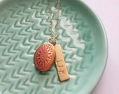 Coral locket with personalized brass bar on gold filled chain, classic modern jewelry