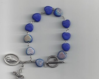 Blue Heart Beads Rosary Bracelet - Lady Fatima Saint Medal featured!  Free Domestic Shipping!