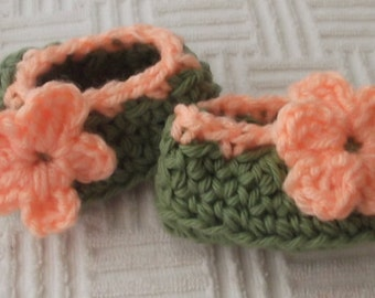 Sage Green & Peach Trimming...Ballet Flat...Newborn up to 3 Month...Baby Girl....Slip On Shoe...Perfect Gift....Ready to Ship....Adorable